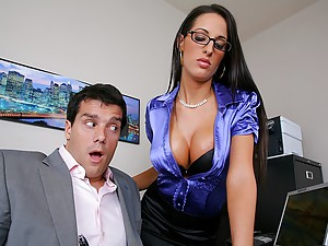 Busty Brunette Secretary Sucks Dick