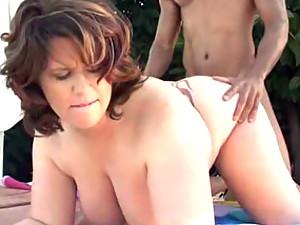 Fat girl interracial outdoors