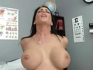 Brunette Nurse Jessica Jaymes Wrapping a Big Dick on Her Big Tits
