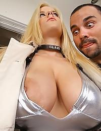 Busty Blonde Jerks Off Big Dick