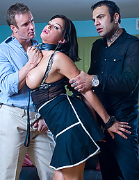 Collared pornstar with two men