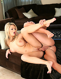She gobbles a big cock and she lets it fuck her wet pussy so deep and hard