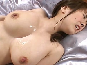Nana Aoyama Asian doll gets covered in lube and fucked hard by her guy