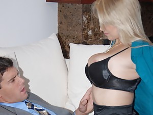 Blonde in stockings loves big cock
