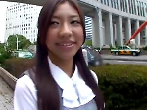 Nasty Asian office girl Haruka Naga giving blowjob and cum covered