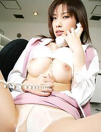 Busty Japanese chick as nurse