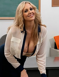 Teacher in sheer blouse nailed
