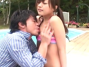 Cute Miyu gets her pretty tits fondled outside by a guy