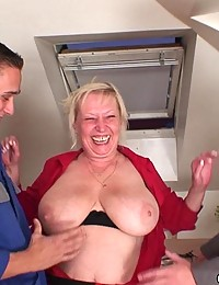Slutty grandma fucked in her lusty pussy and every inch of cock turns her on