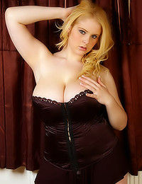 Dream of Ashley - Ashley's huge knockers pop out from underneath her tight corset dress