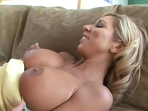 Gorgeous Busty Blonde Getting A Titty Cumbath