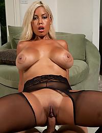 Perfectly Bronzed Blonde Has Massive Jugs
