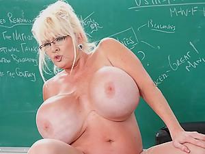 BBW Blonde with Huge Boobs Fucks