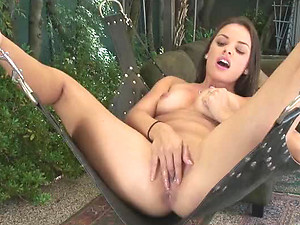 Bonerific Latina Brunette Renee Perez Fists Her Pussy On a Sex Swing