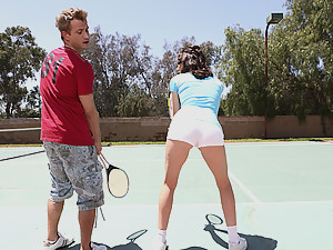 Sultry tennis girl likes cock and balls
