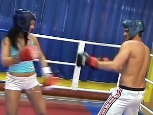Peggy Fucking And Getting A Facial In The Boxing Ring
