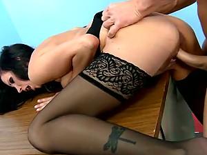 Stunning Brunette Shay Sights Sucks and Fucks a Subordinate's Big Dick