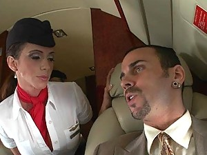 Two Flight Attendants Milk One Passenger's Big Cock