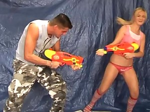 Blonde Teen Plays with Water Guns and Gets Boned