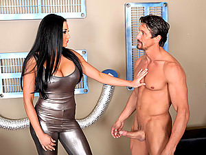 Shiny dress slut fucked by cock