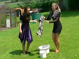 Hot Babes Messing Around In The Backyard