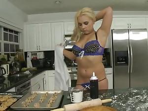 Curvy girl uses rolling pin