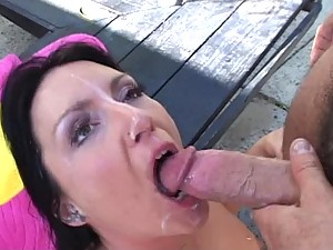Chubby Brunette Gets Fucked in the Backyard
