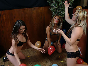 Young Jessica - Three sexy teens with nothing except high-heeled shoes and lacy undies on them playing with a bunch of balloons... Hmm, that might be worth seeing!