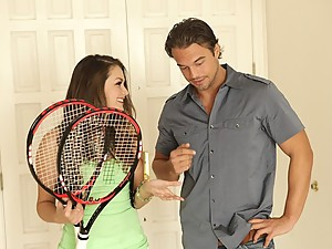 Cute chick fucked after tennis