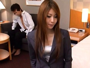 Sana teases 3 men with her hot body before having office sex