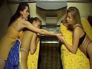 Incredibly gorgeous lesbian babes do the scissors in a train wagon