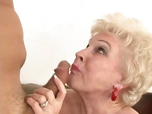 Old lady sits on dick