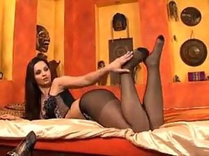 Hot black pantyhose tease in heels