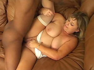Chubby Blonde Likes the Black Cock
