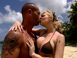 Big Tittied Blonde Tarra White Gets Interracial Anal Sex in The Beach