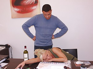 Busty secretary gets pussy fucked passed out