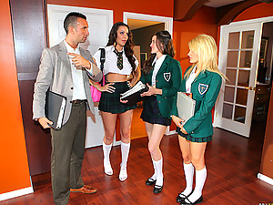 Schoolgirl finds his cock tempting