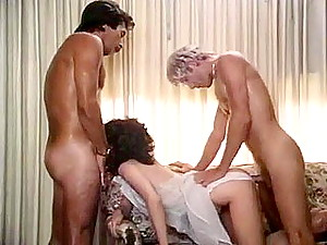 Retro porn girl banged both in mouth and wet pussy