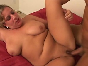 Mature Blonde BBW Fucked On Red Couch