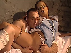 Glassed Redhead Nurse Gets a Double Penetration and a Thick Facial