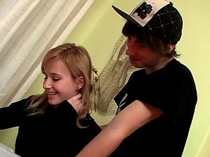 Blonde Teen Getting Her Pink Pussy Drilled By Her Lover