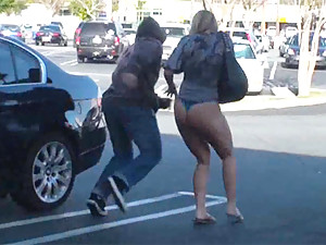 Two hot chicks get pantsed in public!
