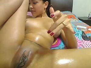 Slut going wild on webcam squirting orgasm