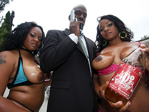 Porn Pros Network - 00Negro is out to save a few honeys with big asses and get some 40oz Bounce on the way. Two of the biggest booties owe their delicious brown sugar asses to 00Negro after some crazy shit that went down, just like these hoes went down on